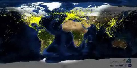 Visualization of commercial flights around the world