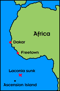 Map of the Laconia Incident