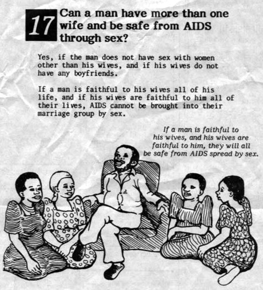 Ugandan poster about polygamy and AIDS