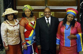 Jacob Zuma with his three wives
