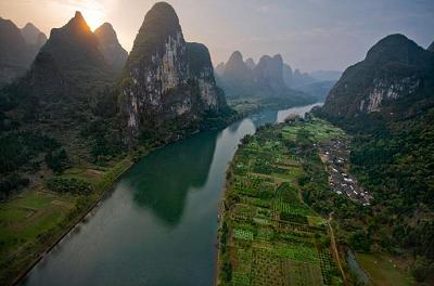 This one shows limestone pinnacles along the Li River